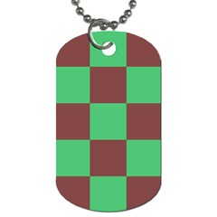 Background Checkers Squares Tile Dog Tag (one Side) by Sapixe