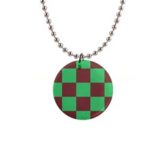 Background Checkers Squares Tile Button Necklaces