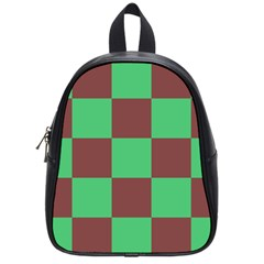 Background Checkers Squares Tile School Bag (small) by Sapixe