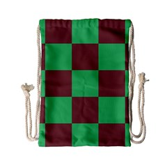 Background Checkers Squares Tile Drawstring Bag (small)