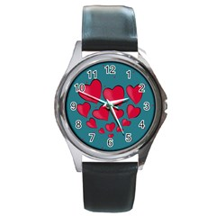 Background Desktop Hearts Heart Round Metal Watch