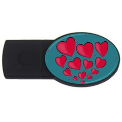 Background Desktop Hearts Heart Usb Flash Drive Oval (4 Gb)
