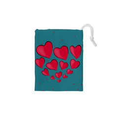 Background Desktop Hearts Heart Drawstring Pouches (xs)  by Sapixe