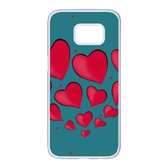 Background Desktop Hearts Heart Samsung Galaxy S7 Edge White Seamless Case