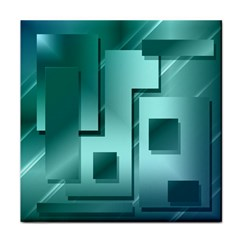 Green Figures Rectangles Squares Mirror Tile Coasters by Sapixe