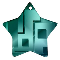 Green Figures Rectangles Squares Mirror Ornament (star) by Sapixe