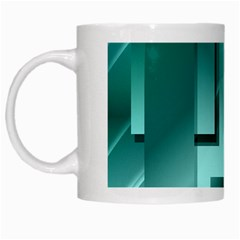 Green Figures Rectangles Squares Mirror White Mugs