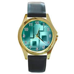 Green Figures Rectangles Squares Mirror Round Gold Metal Watch by Sapixe