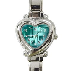 Green Figures Rectangles Squares Mirror Heart Italian Charm Watch