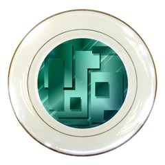 Green Figures Rectangles Squares Mirror Porcelain Plates by Sapixe