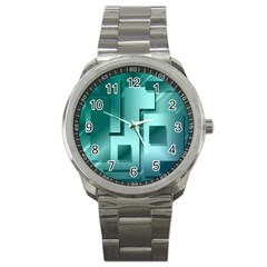 Green Figures Rectangles Squares Mirror Sport Metal Watch by Sapixe