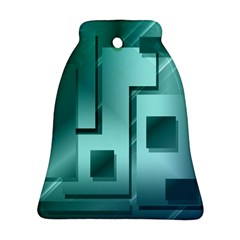 Green Figures Rectangles Squares Mirror Bell Ornament (two Sides)