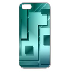 Green Figures Rectangles Squares Mirror Apple Seamless Iphone 5 Case (clear)