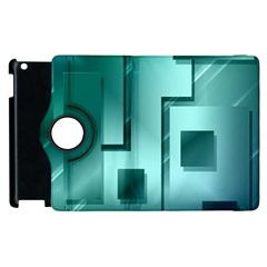 Green Figures Rectangles Squares Mirror Apple Ipad 3/4 Flip 360 Case by Sapixe