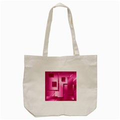 Pink Figures Rectangles Squares Mirror Tote Bag (cream) by Sapixe