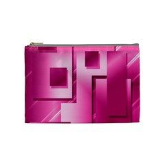 Pink Figures Rectangles Squares Mirror Cosmetic Bag (medium)  by Sapixe