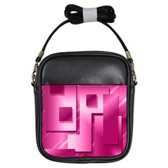 Pink Figures Rectangles Squares Mirror Girls Sling Bags by Sapixe