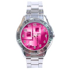 Pink Figures Rectangles Squares Mirror Stainless Steel Analogue Watch by Sapixe