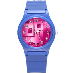 Pink Figures Rectangles Squares Mirror Round Plastic Sport Watch (s) by Sapixe