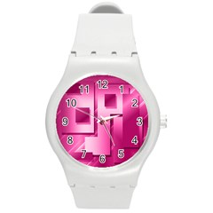 Pink Figures Rectangles Squares Mirror Round Plastic Sport Watch (m) by Sapixe