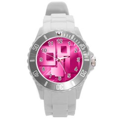 Pink Figures Rectangles Squares Mirror Round Plastic Sport Watch (l) by Sapixe
