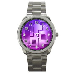 Purple Figures Rectangles Geometry Squares Sport Metal Watch by Sapixe