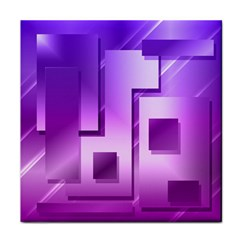 Purple Figures Rectangles Geometry Squares Face Towel by Sapixe