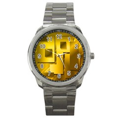 Yellow Gold Figures Rectangles Squares Mirror Sport Metal Watch by Sapixe