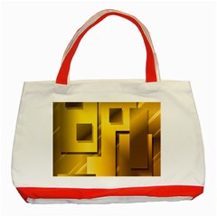 Yellow Gold Figures Rectangles Squares Mirror Classic Tote Bag (red) by Sapixe