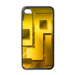 Yellow Gold Figures Rectangles Squares Mirror Apple Iphone 4 Case (black)