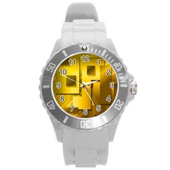 Yellow Gold Figures Rectangles Squares Mirror Round Plastic Sport Watch (l) by Sapixe