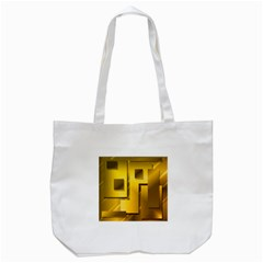 Yellow Gold Figures Rectangles Squares Mirror Tote Bag (white) by Sapixe