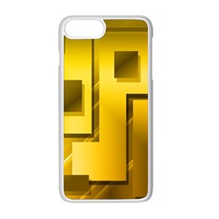 Yellow Gold Figures Rectangles Squares Mirror Apple Iphone 8 Plus Seamless Case (white)