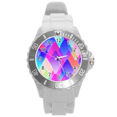 Squares Color Squares Background Round Plastic Sport Watch (l) by Sapixe
