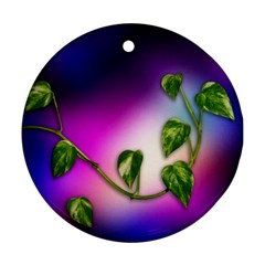Leaves Green Leaves Background Ornament (round)