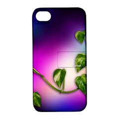 Leaves Green Leaves Background Apple Iphone 4/4s Hardshell Case With Stand by Sapixe