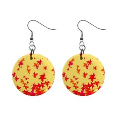 Leaves Autumn Maple Drop Listopad Mini Button Earrings by Sapixe