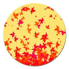 Leaves Autumn Maple Drop Listopad Magnet 5  (round) by Sapixe