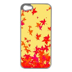 Leaves Autumn Maple Drop Listopad Apple Iphone 5 Case (silver) by Sapixe