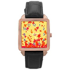 Leaves Autumn Maple Drop Listopad Rose Gold Leather Watch  by Sapixe