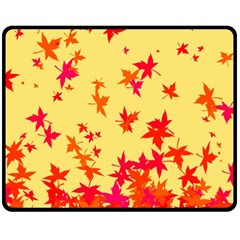 Leaves Autumn Maple Drop Listopad Double Sided Fleece Blanket (medium)  by Sapixe
