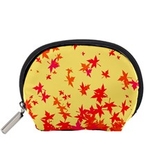 Leaves Autumn Maple Drop Listopad Accessory Pouches (small)  by Sapixe
