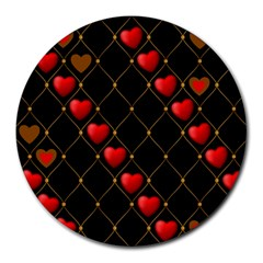 Background Texture Texture Hearts Round Mousepads by Sapixe