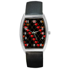 Background Texture Texture Hearts Barrel Style Metal Watch