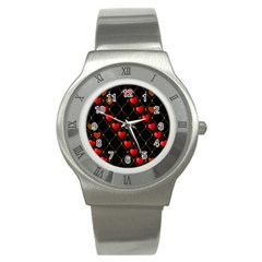 Background Texture Texture Hearts Stainless Steel Watch by Sapixe