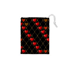Background Texture Texture Hearts Drawstring Pouches (xs)