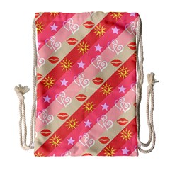 Background Desktop Pink Sun Stars Drawstring Bag (large)