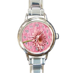 Background Texture Flower Petals Round Italian Charm Watch by Sapixe