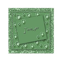 Card I Love You Heart Romantic Small Satin Scarf (square) by Sapixe