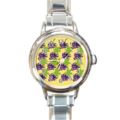 Grapes Background Sheet Leaves Round Italian Charm Watch by Sapixe
